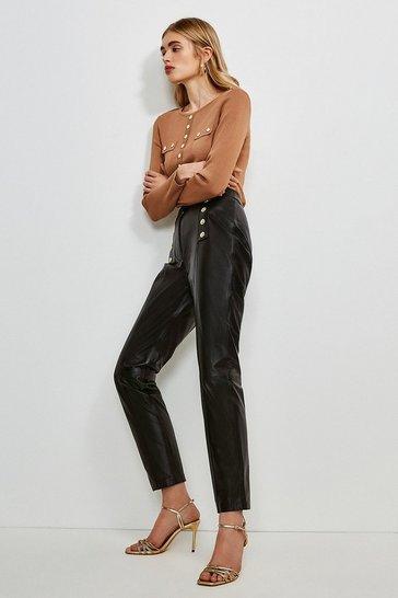 Black Leather Button Placket Trouser