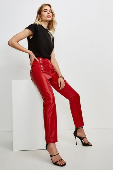 Red Leather Button Placket Trouser
