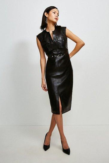 Black Leather Snaffle Trim Pocket Dress