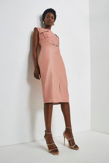 Blush Leather Snaffle Trim Pocket Dress