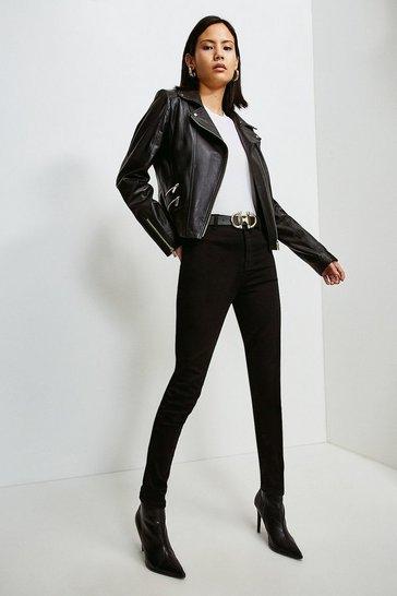 Black Leather Perforated Panel Biker Jacket