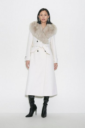 Ivory Black Label Faux Fur Collar Wool Belted Coat