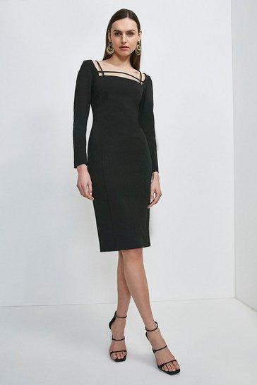 Black Italian Technical Jersey Strappy Dress