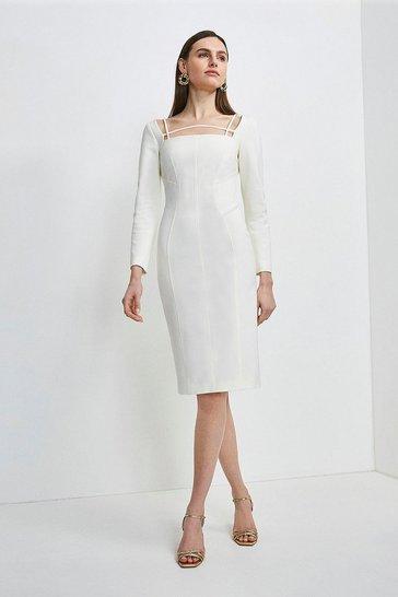 Cream Italian Technical Jersey Strappy Dress