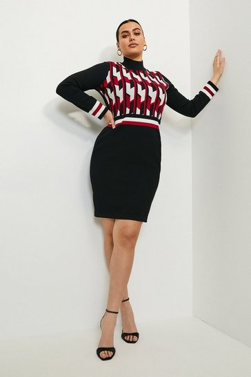 Black Curve Geometric Knitted Dress