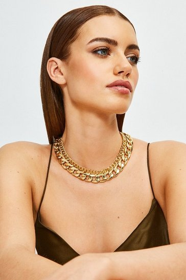 Gold Plated Statement Chain Mix Necklace