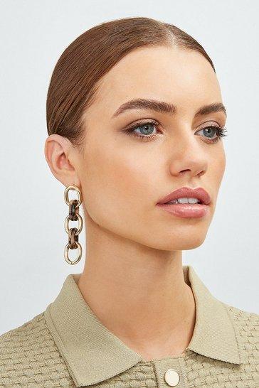 Gold Tortoise Chain Link Earrings