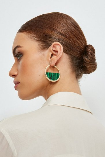 Gold Malachite Hoops