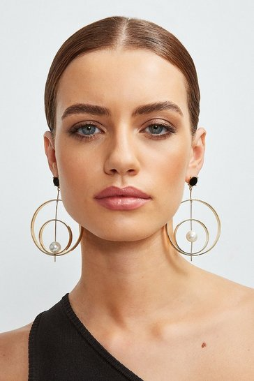 Gold Plated Pearl Statement Hoops