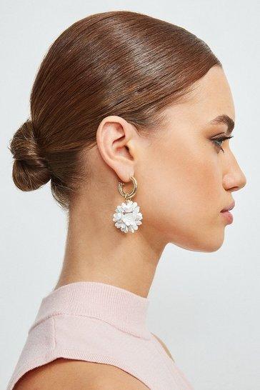 Gold Floral Drop Earrings