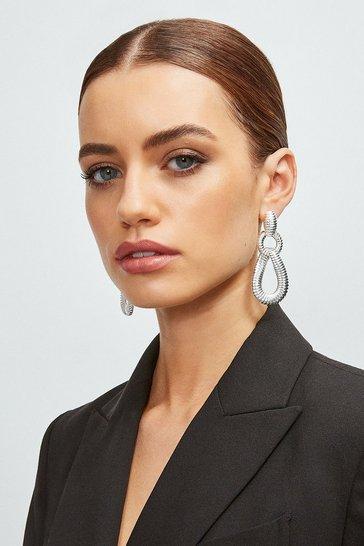 Silver Plated Loop Teardrop Earrings