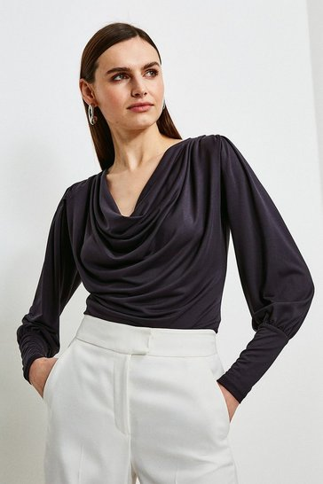 Charcoal Slinky Jersey Blouse