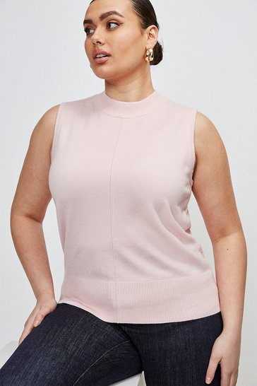 Pale pink Curve Button Back Sleeveless Knit Top