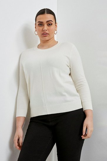 Ivory Curve Button Back Knit Jumper