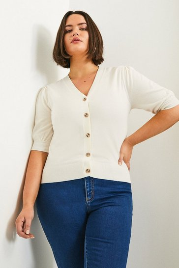 Ivory Curve Short Puff Sleeve Knitted Cardigan