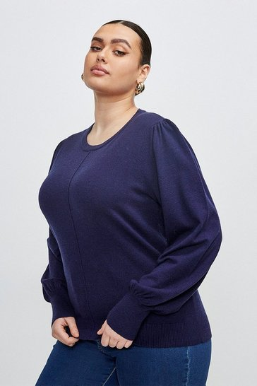 Navy Curve Puff Sleeve Knitted Jumper