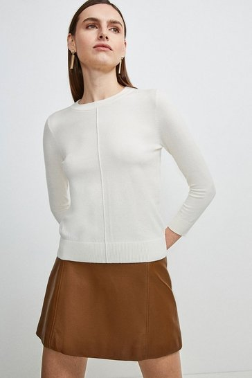 Ivory Button Back Knit Jumper