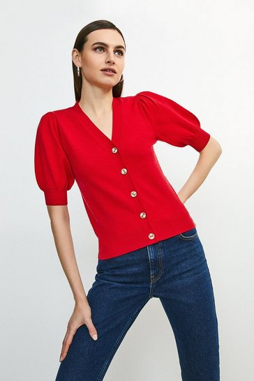 Red Short Puff Sleeve Knitted Cardigan
