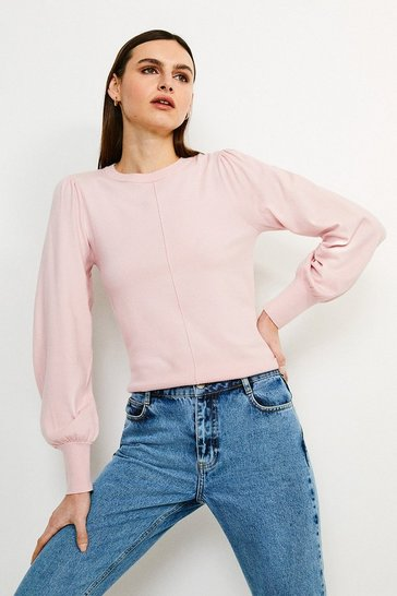Pale pink Puff Sleeve Knitted Jumper