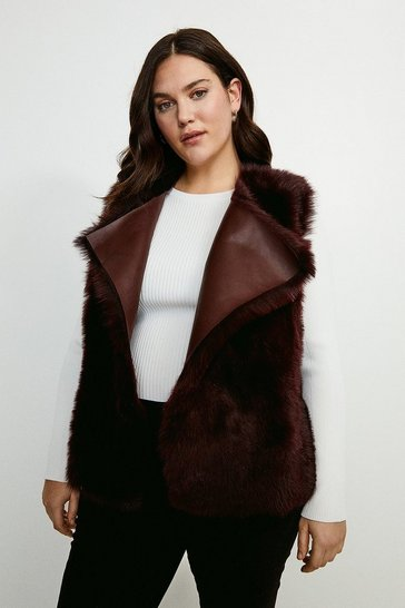 Wine Curve Reversible Quilted Panel Sheepskin Gilet