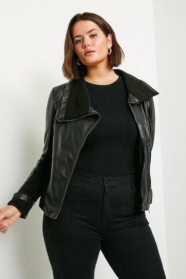 Black Curve Leather and Knit Envelope Neck Biker Jacket