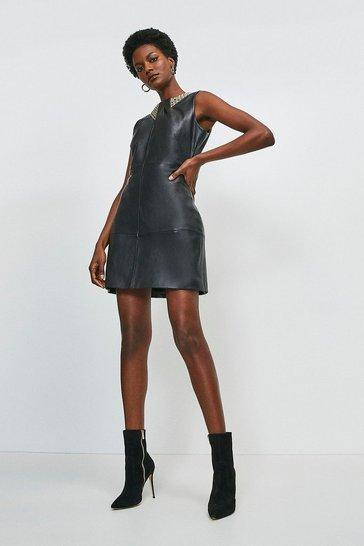 Black Embellished Neck Detail Pencil Dress