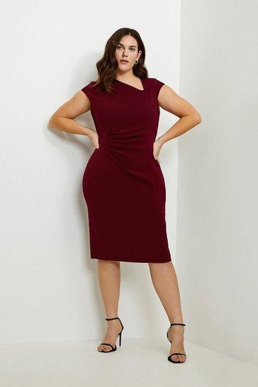 Wine Curve Asymmetric Tuck Detail Dress