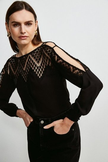 Black Cold Shoulder Diamond Lace  Top