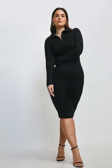 Black Curve Zip Front Open Neck Jumper Dress