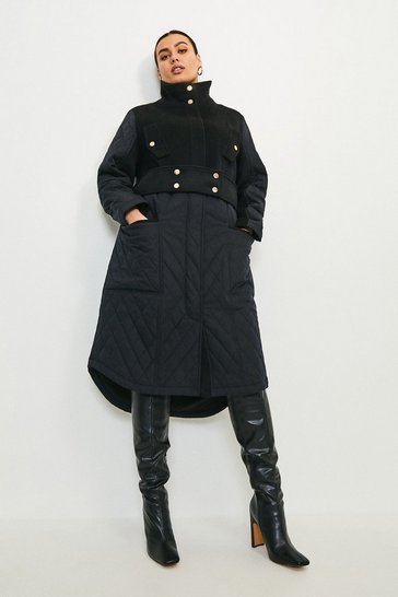 Black Curve Quilt Detail Hybrid Coat