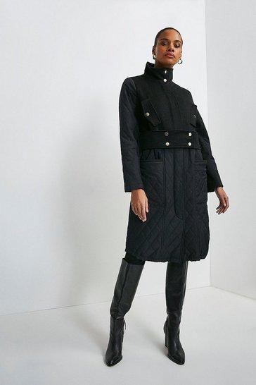Black Quilt Detail Hybrid Coat