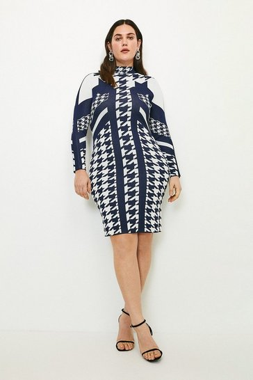 Navy Curve Houndstooth Jacquard Knitted Dress
