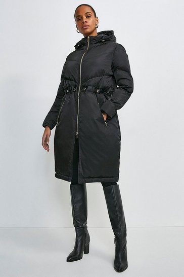 Black Two Way Puffer Coat