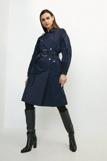 Navy Puff Sleeve Belted Trench Coat