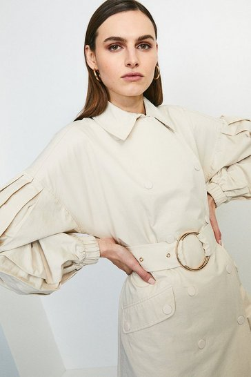 Stone Puff Sleeve Belted Trench Coat