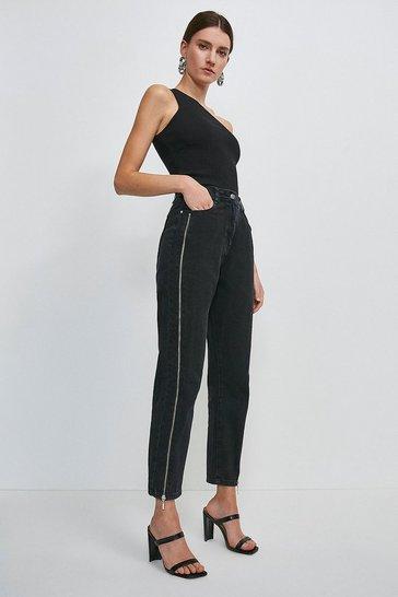 Washed black Zip Side Slim Jean