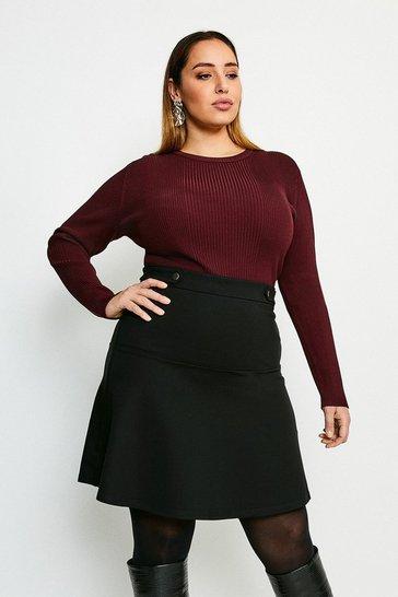 Black Curve Rivet Detail Ponte Mini Skirt