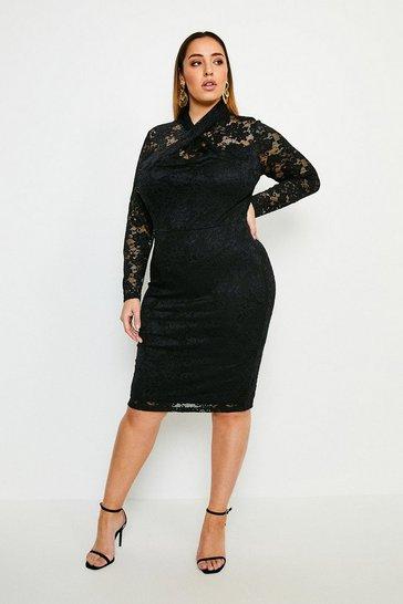 Black Curve Twist Neck Stretch Lace Jersey Dress