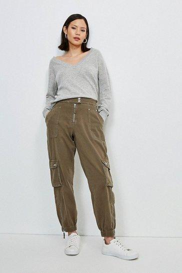Khaki Zip Front Cargo Combat Trouser
