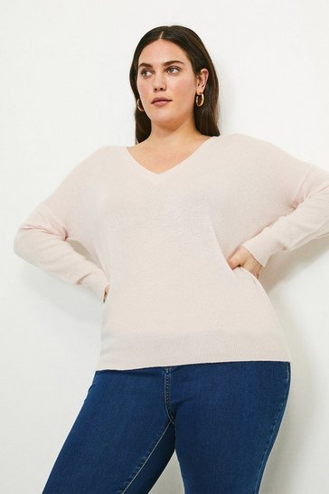 Blush Curve Cashmere V Neck Jumper