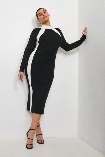 Blackwhite Curve Mono Knitted Funnel Neck Dress
