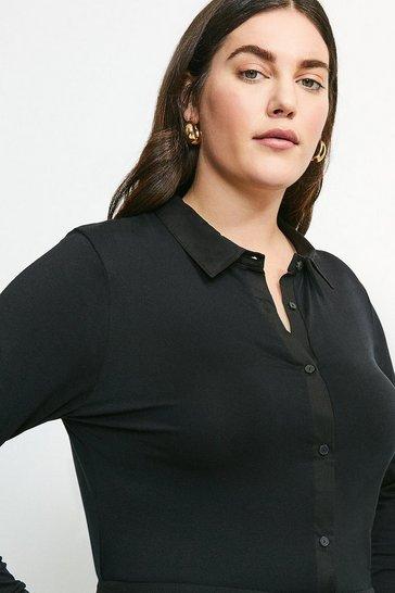 Black Curve Woven Viscose Jersey Elastane Shirt