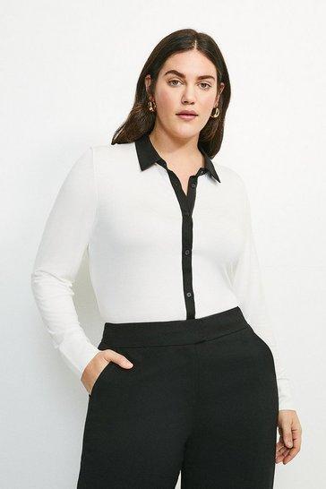 Ivory Curve Woven Viscose Jersey Elastane Shirt