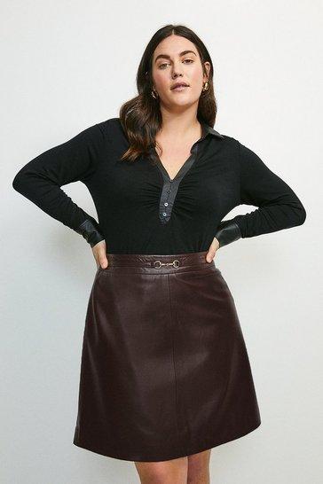 Black Curve PU Contrast Viscose Jersey Elastane Shirt