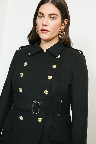 Black Curve Italian Wool Blend Trench Coat