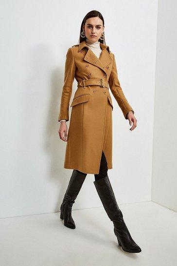 Camel Italian Wool Blend Trench Coat