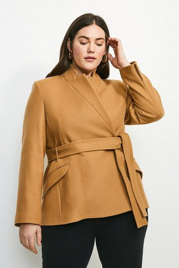 Camel Curve Investment Notch Neck Short Coat