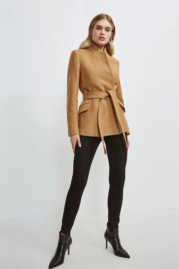 Camel Investment Notch Neck Short Coat