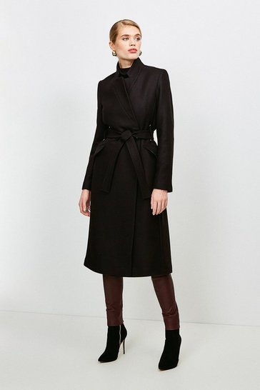 Black Investment Notch Neck Wool Blend Rivet Coat