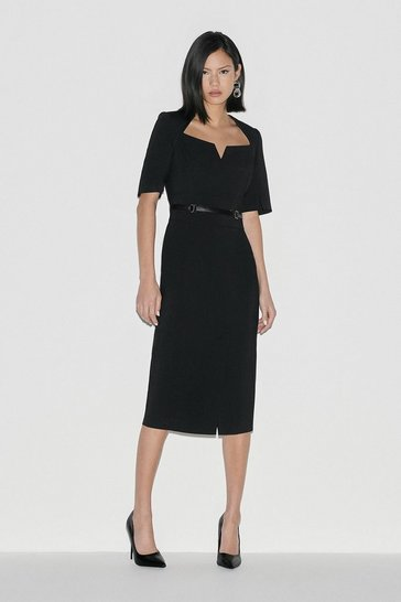 Black Italian Compact Stretch Pencil Dress